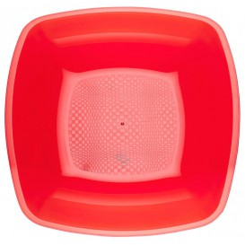 Plastic Plate Deep Red Square shape PS 18 cm (300 Units)