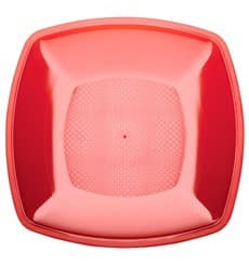 Plastic Plate Flat Red Square shape PS 23 cm (25 Units)