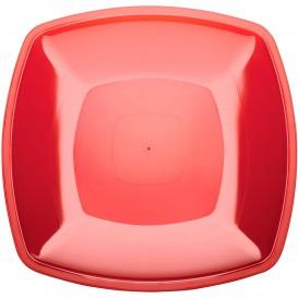 Plastic Plate Flat Red Square shape PS 30 cm (12 Units)