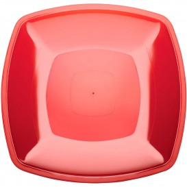 Plastic Plate Flat Red Square shape PS 30 cm (144 Units)