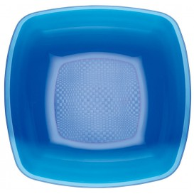Plastic Plate Deep Blue Square shape PS 18 cm (25 Units)