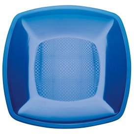 Plastic Plate Flat Blue Square shape PS 23 cm (25 Units)