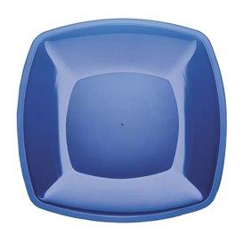 Plastic Plate Flat Blue Square shape PS 30 cm (12 Units)