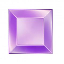 "Plastic Plate Flat Violet ""Nice"" Pearl PP 23 cm (25 Units)"