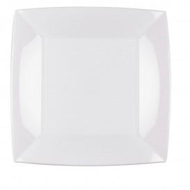 "Plastic Plate Flat White ""Nice"" PP 23 cm (25 Units)"