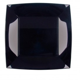 "Plastic Plate Flat Black ""Nice"" PP 23 cm (25 Units)"