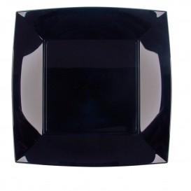 "Plastic Plate Flat Black ""Nice"" PP 23 cm (300 Units)"