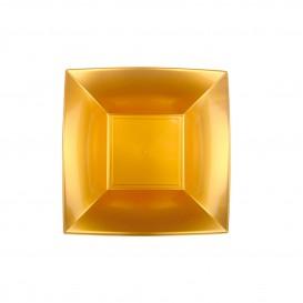 "Plastic Plate Deep Gold ""Nice"" PP 18 cm (12 Units)"