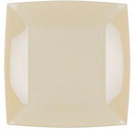 "Plastic Plate Flat Cream ""Nice"" PP 29cm (144 Units)"
