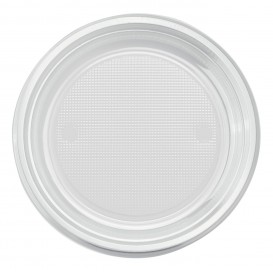 Plastic Plate PS Flat Clear Ø17 cm (50 Units)