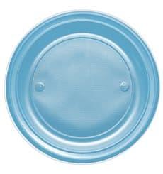 Plastic Plate PS Flat Turquoise Ø17 cm