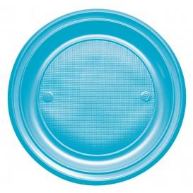 Plastic Plate PS Flat Turquoise Ø22 cm (780 Units)
