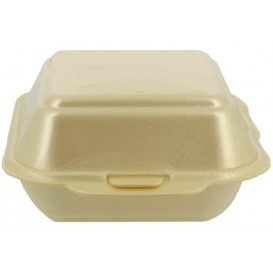 Foam Burger Boxes Take-Out Small size Champagne (125 Units)
