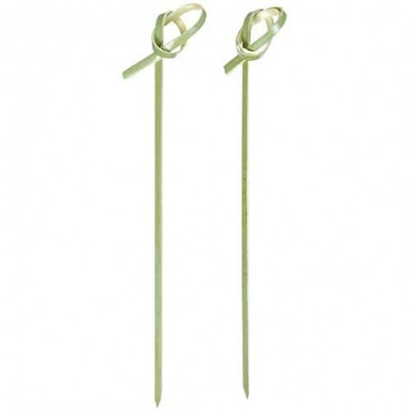 "Pinchos de Bambu ""Lazo"" Verde Natural 180mm (200 Uds)"