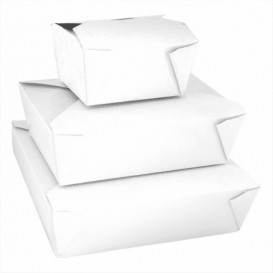 """Paper Take-out Container """"American"""" White 19,7x14x4,6cm 1470ml(50 Units)"""