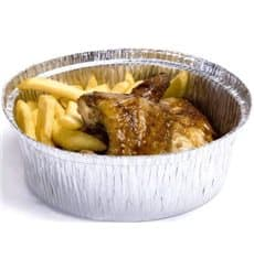 Foil Pan for Roast Chicken Round Shape 1900ml (125 Units)