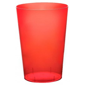 "Plastic Cup PS ""Moon"" Red Clear 230ml (50 Units)"