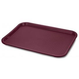 Plastic Tray Fast Food Burgundy 35,5x45,3cm (12 Units)