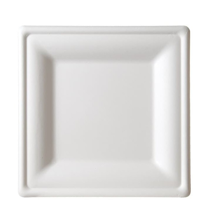 Sugarcane Plate Square shape White 20x20 cm (50 Units)