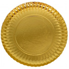 Paper Plate Round Shape Gold 23cm (100 Units)