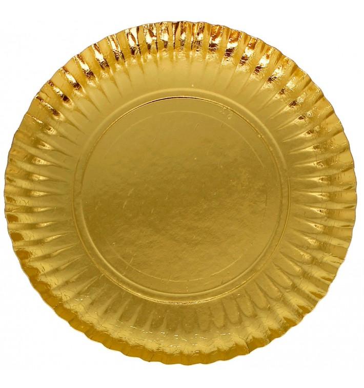 Paper Plate Round Shape Gold 23cm (500 Units)
