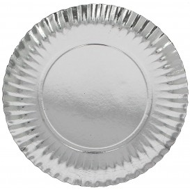 Paper Plate Round Shape Silver 23cm (100 Units)
