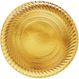 Paper Plate Round Shape Gold 30cm (100 Units)