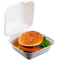 Sugarcane Burger Box White 152x152x84mm (50 Units)