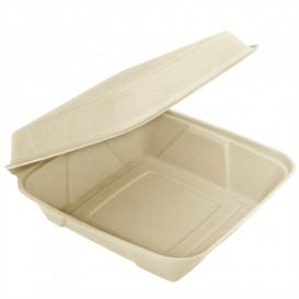 """Sugarcane Hinged Container """"Menu Box"""" 22,5x22,5x7,5cm (200 Units)"""