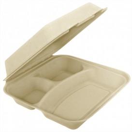 "Sugarcane Hinged Container ""Menu Box"" 3 Compartments 25x25x7,5cm (250 Units)"