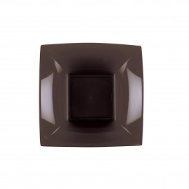 "Plastic Plate Deep Brown ""Nice"" PP 18 cm (25 Units)"