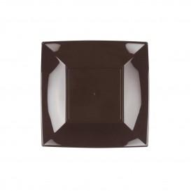 "Plastic Plate Flat Brown ""Nice"" PP 18 cm (25 Units)"