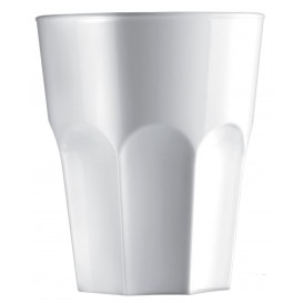 "Plastic Glass SAN Reusable ""Granity"" White 400 ml (75 Units)"