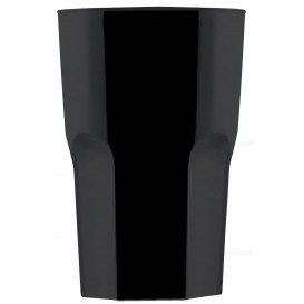 "Plastic Glass SAN Reusable ""Granity"" Black 400 ml (75 Units)"