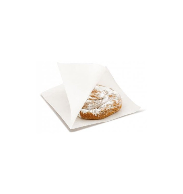 Paper Food Bag Grease-Proof Opened White L Shape 12x12,2cm (100 Units)