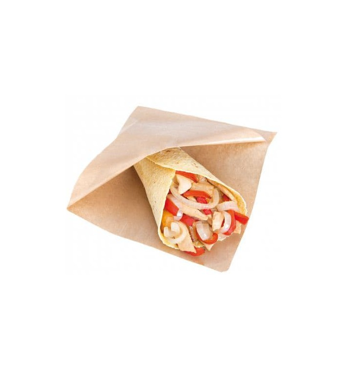 Paper Food Bag Grease-Proof Opened L Shape 12x12,2cm Natural (100 Units)
