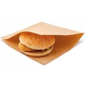 Paper Food Bag Grease-Proof Opened L Shape 18x18,2cm Natural (3000 Units)
