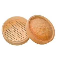Bamboo Steamer with Lid Ø8x6cm (10 Units)