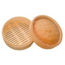 Bamboo Steamer with Lid Ø8x6cm (200 Units)