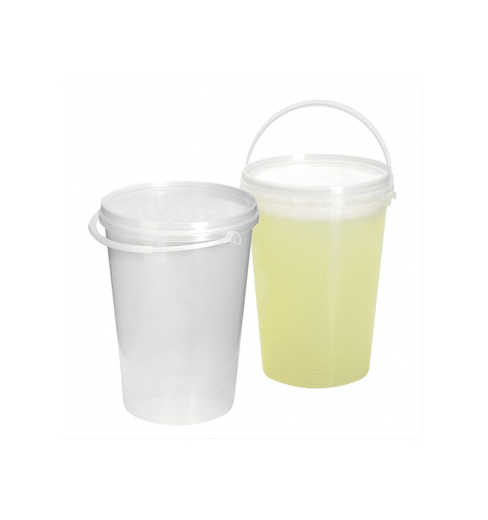 Plastic Bucket with Handle and Lid Clear 1000 ml (200 Units)