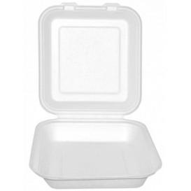 """Sugarcane Hinged Container """"Menu Box"""" White 20x18x5cm (200 Units)"""