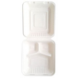 "Sugarcane Hinged Container ""Menu Box"" 3 Compartments White 20x20x7,5cm (200 Units)"