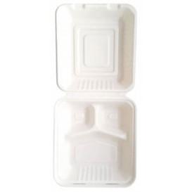 "Sugarcane Hinged Container ""Menu Box"" 3 Compartments White 20x20x7,5cm (50 Units)"