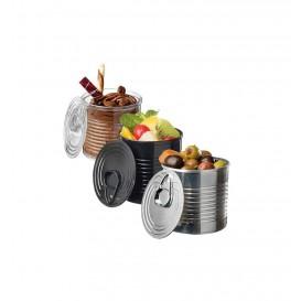 Tasting Plastic Tin Can PS Black 110ml Ø6x5,7cm (25 Units)