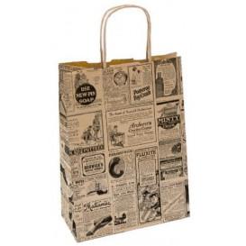 "Paper Bag with Handles Kraft ""Times"" 80g 20+10x29cm (50 Units)"