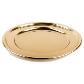 Plastic Charger Plate Round Shape Gold 30 cm (50 Units)