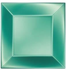 "Plastic Plate Flat Green ""Nice"" Pearl PP 23 cm (25 Units)"