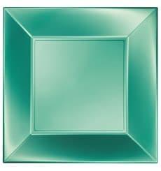 "Plastic Plate Flat Green ""Nice"" Pearl PP 29 cm (12 Units)"