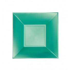 "Plastic Plate Deep Green ""Nice"" Pearl PP 18 cm (25 Units)"