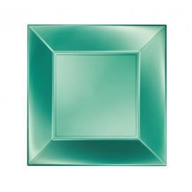 "Plastic Plate Flat Green ""Nice"" Pearl PP 18 cm (300 Units)"
